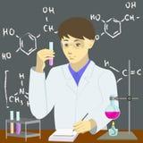 Химик для того чтобы проводить эксперименты иллюстрация штока