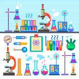 Химическая лаборатория в плоской химической лаборатории стиля Стоковые Фото