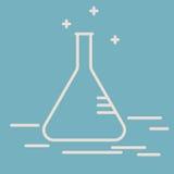 Химическая линия значок вектора конической склянки Склянка Erlenmeyer Знак вектора оборудования химической лаборатории исследован Стоковые Фото