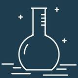 Химическая линия значок вектора склянки круглого дна Знак вектора оборудования химической лаборатории Иллюстрация научного исслед Стоковые Фотографии RF