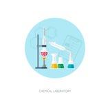 Химическая концепция химия органическая Синтез веществ Плоский дизайн Стоковая Фотография