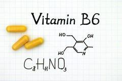 Химическая формула Витамина B6 с желтыми пилюльками Стоковое Изображение RF