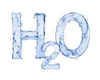 Химическая формула воды сделанная воды брызгает Стоковая Фотография RF