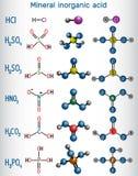 Химическая формула и кислота молекулы модельная минеральная неорганическая Гидравлический Стоковое Изображение RF