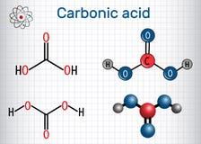 Химическая формула молекулы угольной кислоты H2CO3 структурная и Стоковые Изображения