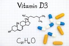 Химическая формула витамина D3 и пилюлек Стоковые Изображения RF