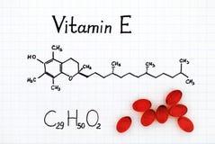 Химическая формула витамина e и пилюлек Стоковая Фотография