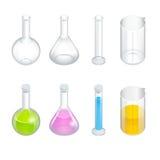 Химические установленные значки пиктограммы пробирки Склянка Erlenmeyer, дистиллируя склянка, объемная склянка, пробирка химическ иллюстрация штока