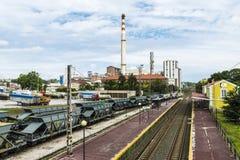 Химический завод компании Solvay, Испании стоковое изображение rf