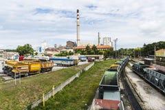 Химический завод компании Solvay, Испании стоковые фотографии rf