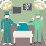 Хирург в операционной с партнером Работающ с shadowless лампами, мониторами, креслом, хирургическими инструментами и докторами иллюстрация вектора