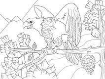 Хищная птица орел на ветви дерева Сокол на рождественской елке Дети расцветки иллюстрация вектора