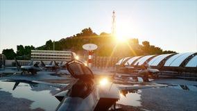 Хищник f 22, воинский реактивный истребитель Военная база Заход солнца 3D анимация сток-видео