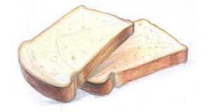 Хлебец белого хлеба, кусок хлеба кусок хлеба Стоковое Изображение