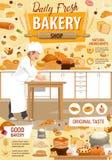 Хлебопекарня и patisserie, печенье, хлебопек иллюстрация вектора