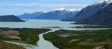 Хлебопек River Valley, ледниковое река в южной Патагонии Chile's Стоковое Изображение RF