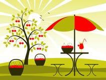 хлебоуборка вишни иллюстрация вектора
