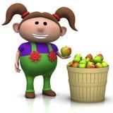 хлебоуборка девушки яблока иллюстрация вектора