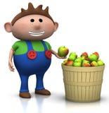 хлебоуборка мальчика яблока иллюстрация вектора