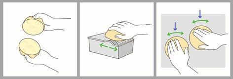 Хлебцы бургера подготавливая последовательность: примите плюшки, распространитель масла пользы, нажим и извив на плите иллюстрация штока
