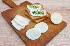 Хлеб, бекон и луки Стоковая Фотография RF