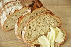 Хлеб с маслом пшеницы стоковая фотография