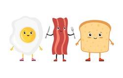 Хлеб яичка, бекона и здравицы также вектор иллюстрации притяжки corel Стоковые Фото