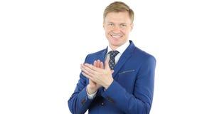 Хлопать жест бизнесмена, аплодирующ, изолированного на белой предпосылке Стоковые Изображения