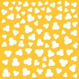 Хлопать попкорна Верхний взгляд воздуха Символ знака ночи кино кино Вкусная еда Плоский стиль дизайна Желтая предпосылка иллюстрация штока