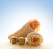 хлопок состава цветет полотенца соли Стоковое Изображение RF