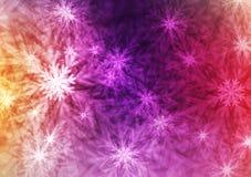 Хлопья или Кристл абстрактной галактики сияющие на красочной предпосылке стоковые изображения