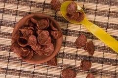 Хлопья мозоли шоколада в диске глины и желтой пластичной ложке Стоковое фото RF