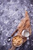 Хлопь и молоко мозоли завтрак здоровый Стоковое Фото