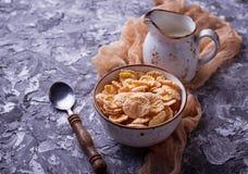 Хлопь и молоко мозоли завтрак здоровый Стоковое фото RF