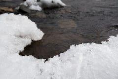 Хлопь снега около реки от melt льда снега на ландшафте горы Стоковое Изображение RF