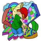 хмель вальмы девушки шаржа предпосылки милый самомоднейший бесплатная иллюстрация