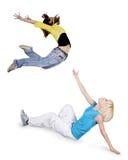 хмель вальмы танцы предпосылки над белизной teenagersl стоковые фотографии rf