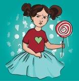 Хмурая девушка с леденцом на палочке Стоковое Изображение