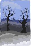 хмурая зима ландшафта Стоковое Изображение