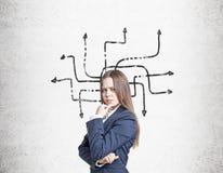 Хмуриться девушка и запутанные стрелки на бетонной стене Стоковое Изображение RF