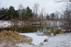 Хмурый, тяжелый, река Psel зимы Стоковое Изображение