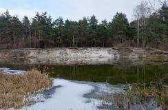 Хмурый, тяжелый, река Psel зимы Стоковая Фотография RF