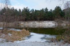 Хмурый, тяжелый, река Psel зимы Стоковые Изображения