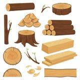 хоботы деревянные Штабелированный материал пиломатериала, хворостина хобота и хворостины швырка внося в журнал Пень дерева, стара иллюстрация вектора