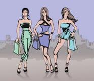 ходить по магазинам девушок города иллюстрация вектора