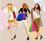 ходить по магазинам девушок иллюстрация вектора