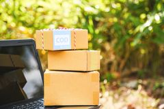 Ходить по магазинам доставки ecommerce ноутбука наличного расчета при выдаче заказа срочный грузя онлайн и концепция заказа стоковое фото rf