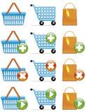 ходить по магазинам икон тележки корзины мешка иллюстрация вектора