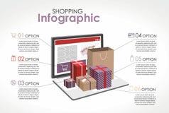 Ходить по магазинам infographic Подарки, открытый ноутбук с 5 шагами бесплатная иллюстрация