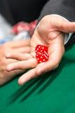 Ходы игрока dices на таблице Стоковые Изображения